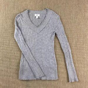 ANN TAYLOR LOFT S Sweater Sparkly Silver V Neck